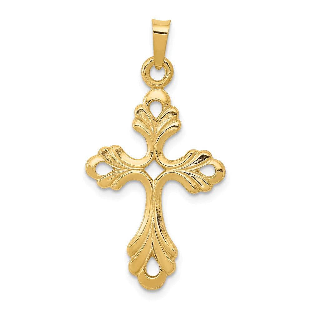 14k Yellow Gold Polished Claddagh Cross Pendant
