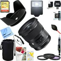 Sigma 24mm f/1.4 DG HSM Wide Angle Lens (Art) for Canon DSLR Camera Mount (401-101)+ 64GB Ultimate Filter & Flash Photography Bundle