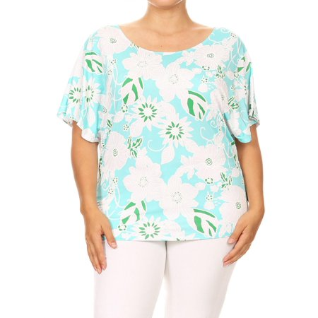 MOA COLLECTION Women's Plus Size Pattern Print Casual Short Sleeve Lightweight Top Tee/Made in