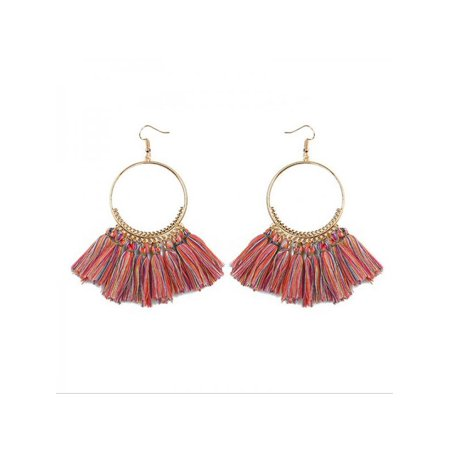 MarinaVida Fashion Women's Round Circle Tassel Drop Earrings Boho Bohemian Fringe Earrings Jewelry