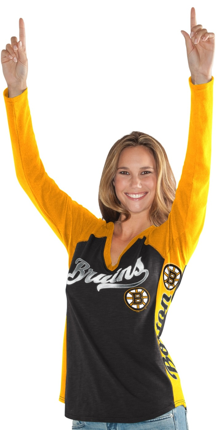 "Boston Bruins Women's G-III NHL ""Arena"" V-neck Long Sleeve T-shirt by G-III Sports"