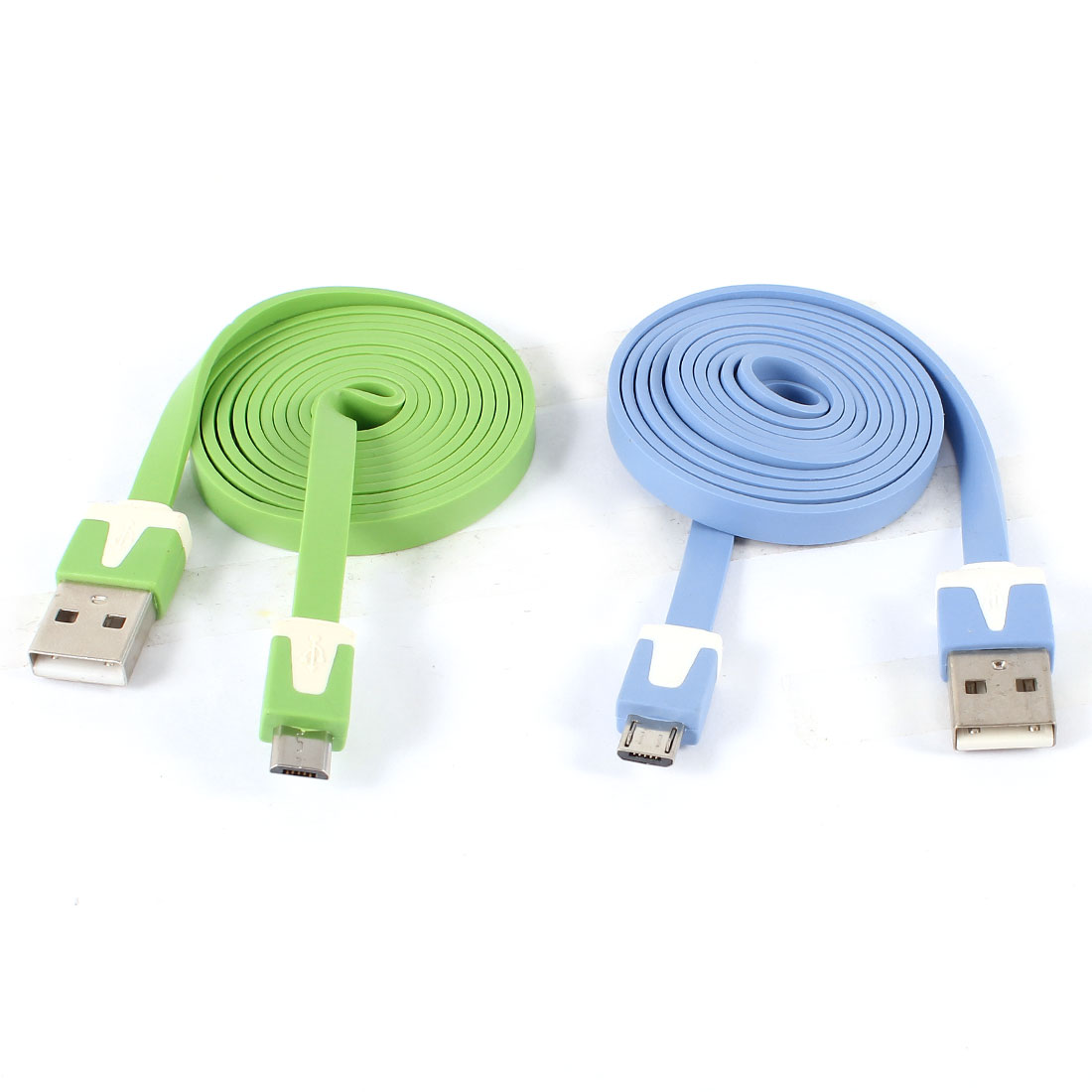 Unique Bargains 2pcs Green Blue USB2.0 A to Micro B 5Pin M/M Flat Data Charging Cable 1M Long