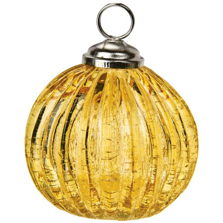 Ribbed Glass Bauble Place Card Holder (2.25-Inch, Amber Yellow) - For Home Decor and Wedding Tabletops