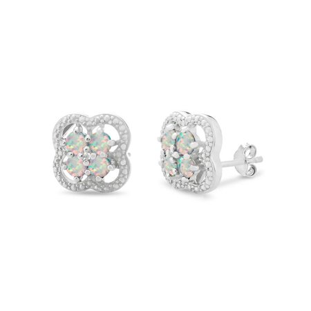 Sterling Silver Rhodium Plated Created Opal Diamond Accent Cluster Stud -