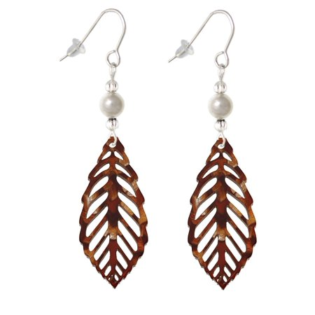 (Acrylic Large Leaf Pearly Brown Imitation Pearl Bead French Earrings)