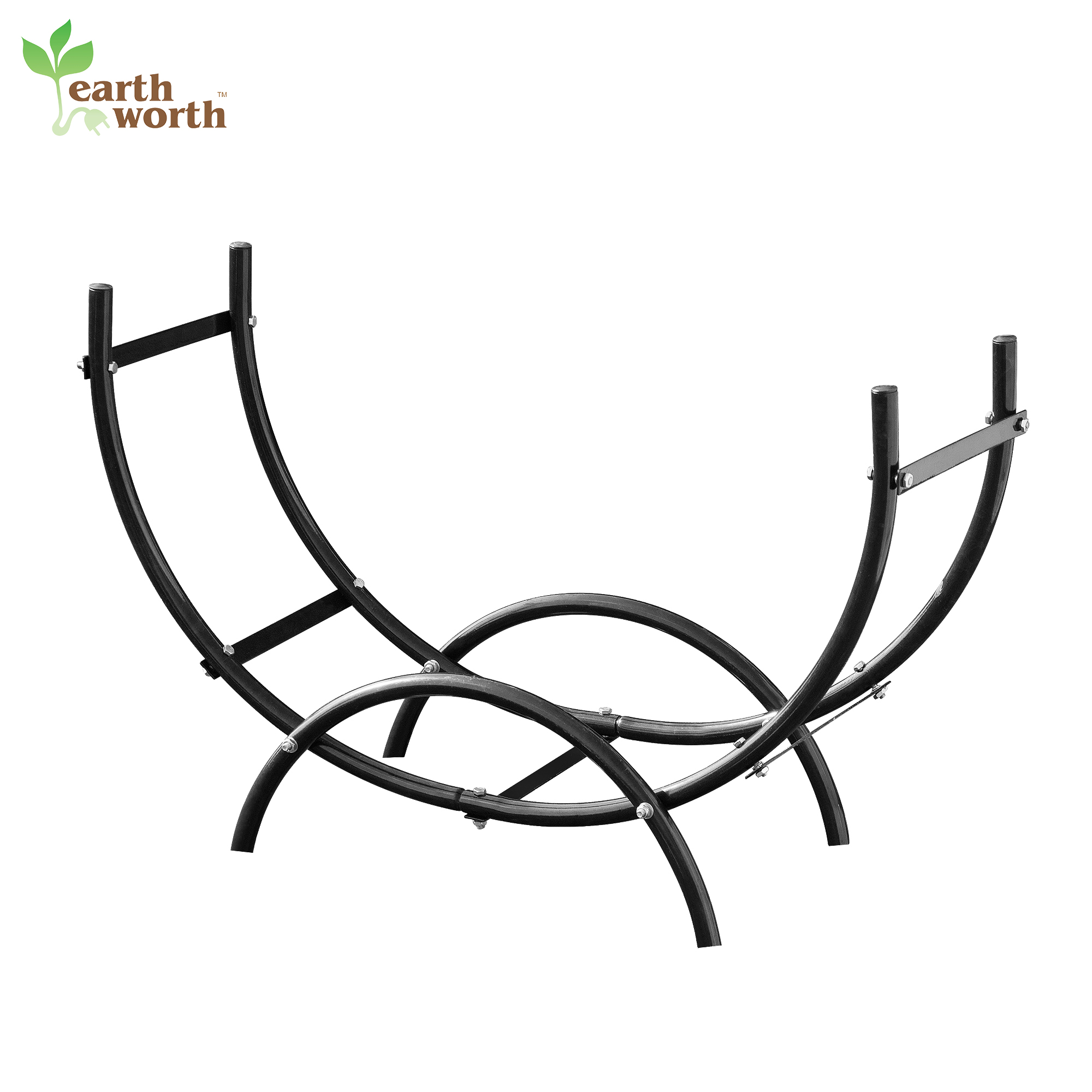 Earth Worth | Firewood Curved Log Rack | 3 FT | Black
