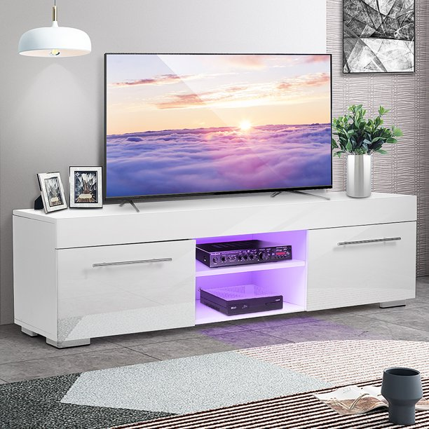 """Morden 51'' TV Stand for TVs up to 58"""", LED TV Unit Media Console w/ 2 Drawer 2 Shelf, White Finish Living Room Furniture"""