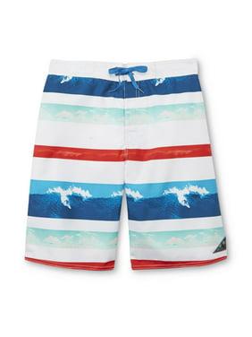 Mens Red/White/Blue Striped Surfing Board Shorts Swim Trunks