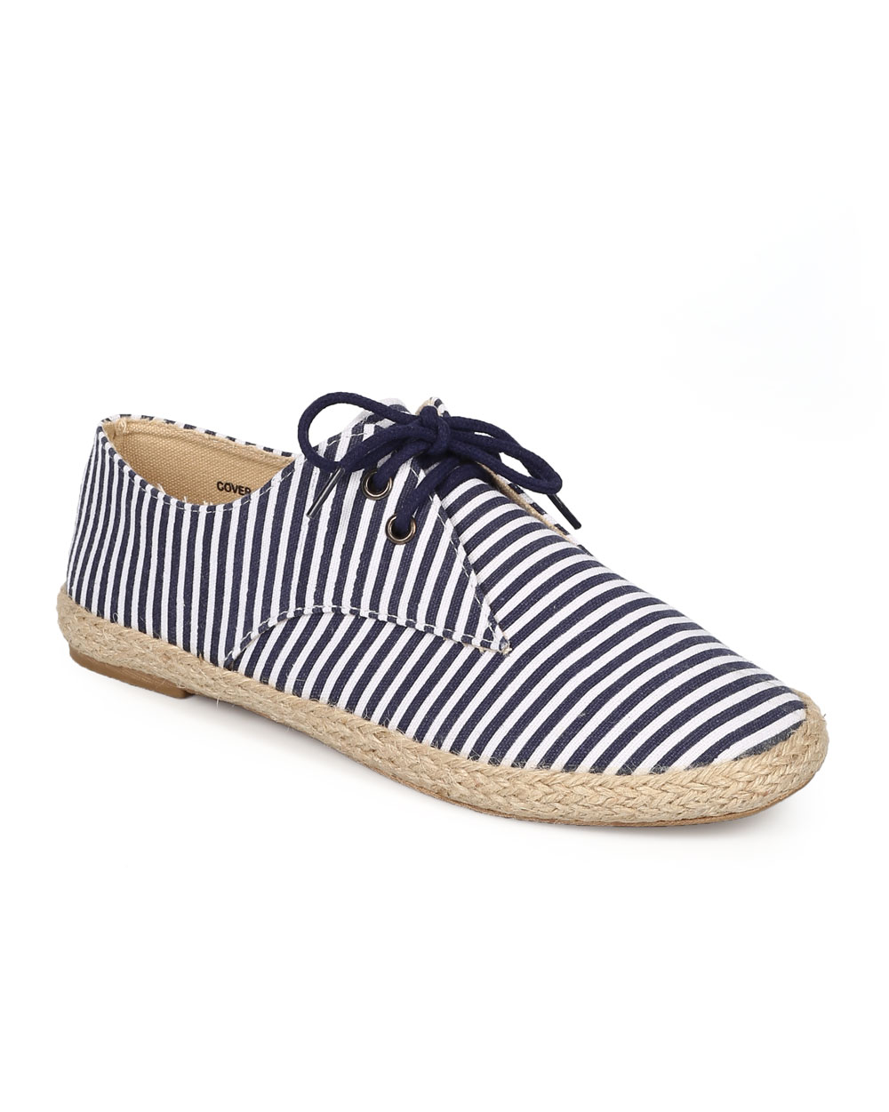 Refresh CG94 Women Fabric Stripe Lace Up Espadrille Loafer Flat
