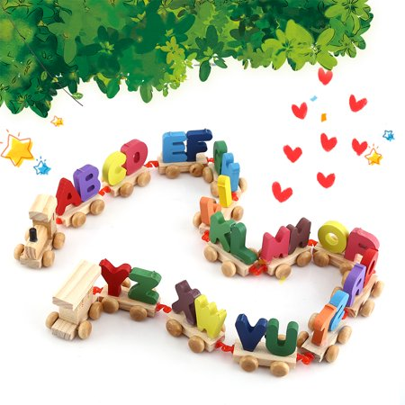 Fashionable Colorful Wooden Letters Train Educational Alphabetical Assemble Toy Set Plaything, Kids Toy, Wooden Train Toy (Educational Train)