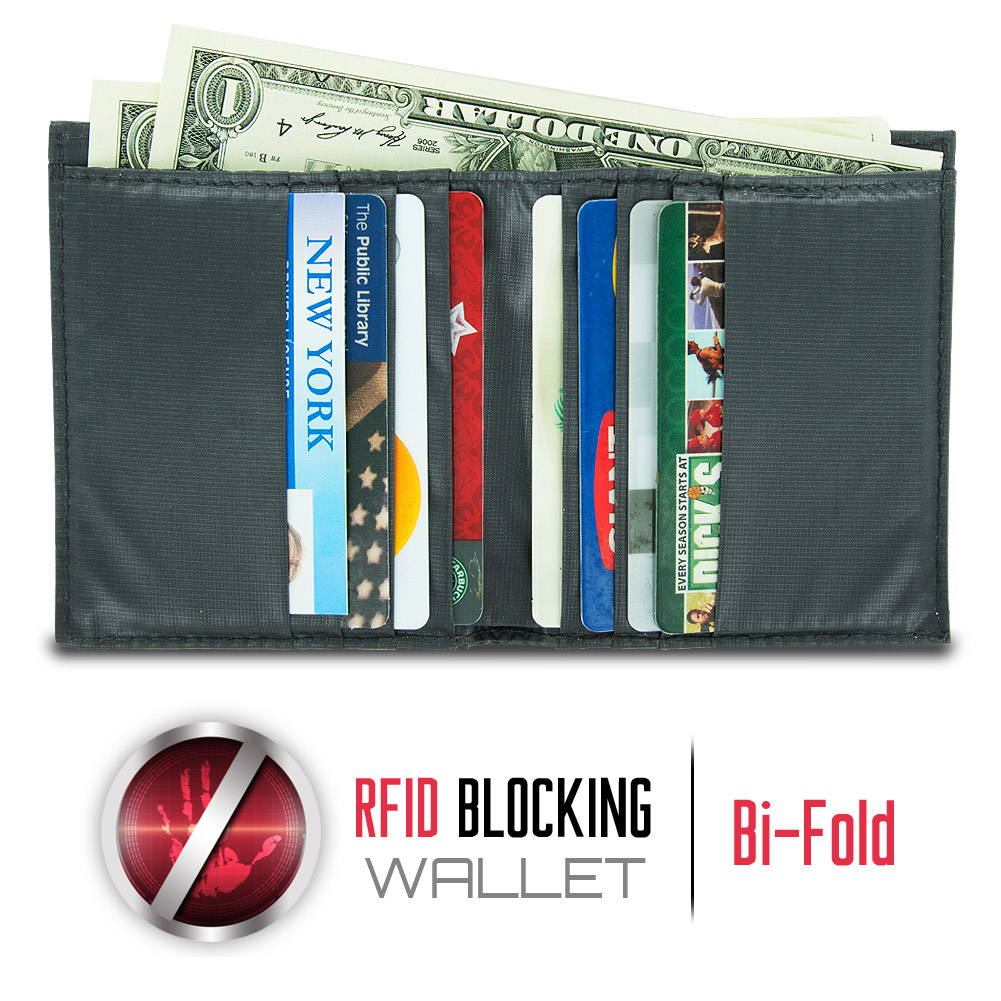 Travelon Safe ID Hack-Proof Ripstop Billfold Wallet with RFID Blocking, Black