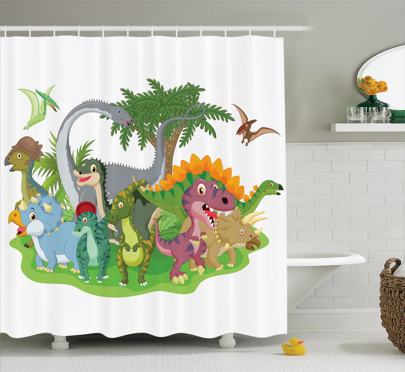 Cartoon of Dinosaurs Print Home Decor Dinos T-rex Kids Image Shower Curtain Set