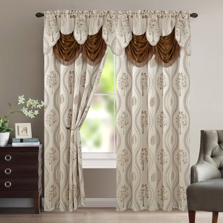 - Aurora Tree Leaf Jacquard Window Panel with Attached Valance, Beige, 54x84 Inches