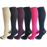 sumona 6 Pairs Women Cable Knit two tone Knee High Winter Boot Socks