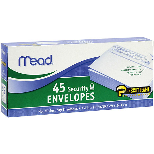 "Boxed Peel and Stick Envelopes, 4.125"" x 9.5"", 45pk, Security, #10"