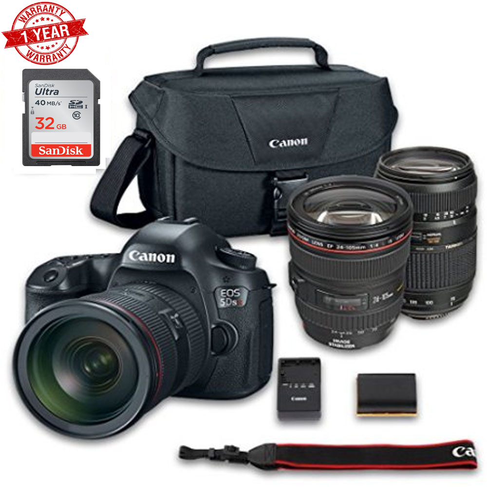 Canon EOS 5DS R DSLR Camera Bundle with Canon EF 24-105mm f/4L Is USM Lens + Tamron Zoom Telephoto AF 70-300mm Autofocus + 32 GB Memory Card + Camera - image 1 de 1