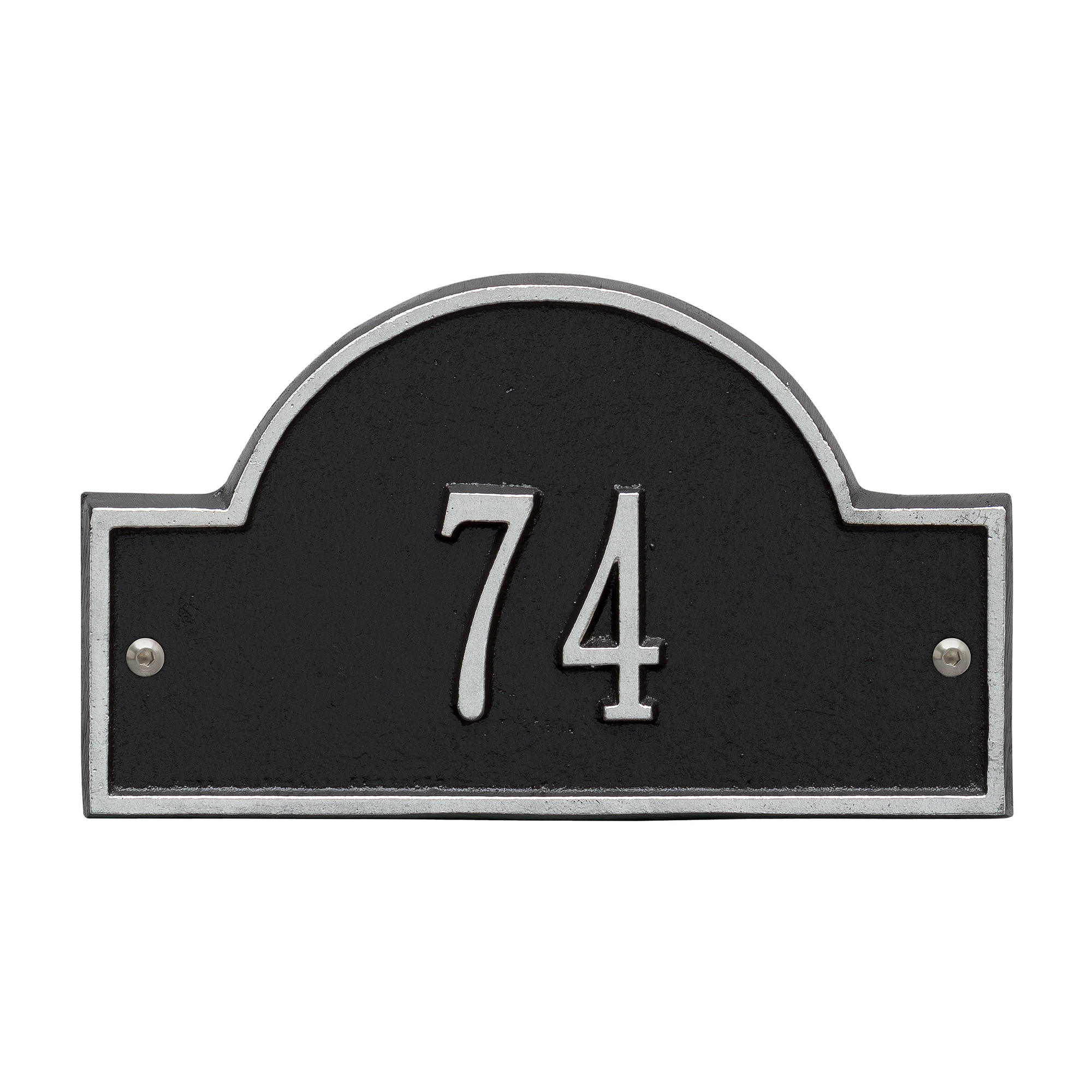 Personalized Whitehall Products Petite One-Line Arch Marker Address Plaque in Black Silver by Whitehall