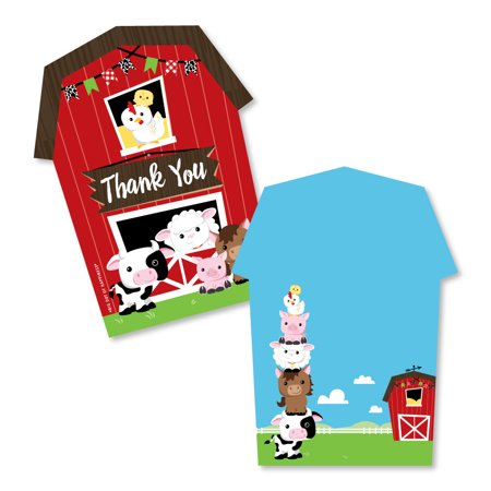 Farm Animals - Shaped Thank You Cards - Barnyard Baby Shower or Birthday Party Thank You Note Cards with - Ibm Sub Card