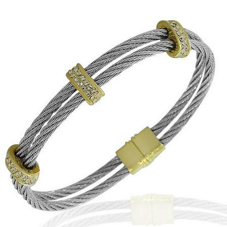 Fashion Alloy Silver-Tone Yellow Gold-Tone White CZ Twisted Cable Bangle Bracelet