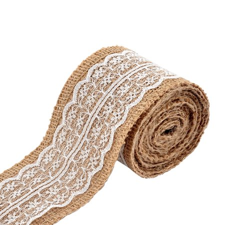 Wedding Lace Decor DIY Handcraft Burlap Ribbon Strap Rope Roll White 2.2 Yards