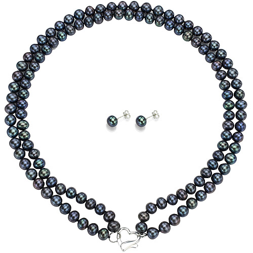 "Double Row 6-7mm Black Freshwater Pearl Heart-Shape Sterling Silver Clasp Necklace (18"") with Bonus Pearl Stud Earrings"