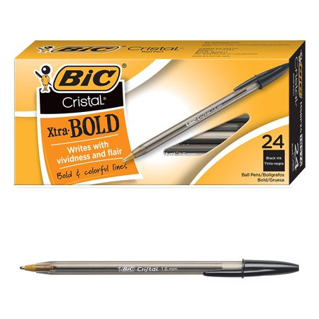 BIC Cristal Bold Non-Refillable Ball Point Pen, 1.6 mm Medium Tip, Black, Pack of (3/4/5 Point)