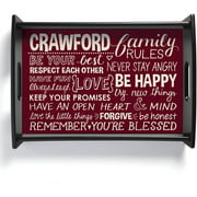 Personalized Family Rules Serving Tray, Burgundy