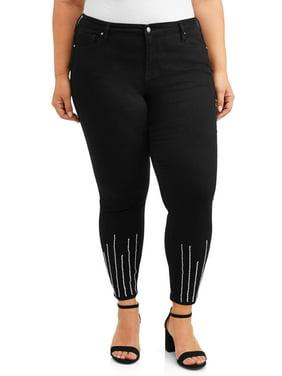 Alivia Ford Women's Plus Size Skinny Jean with Rhinestone Hem