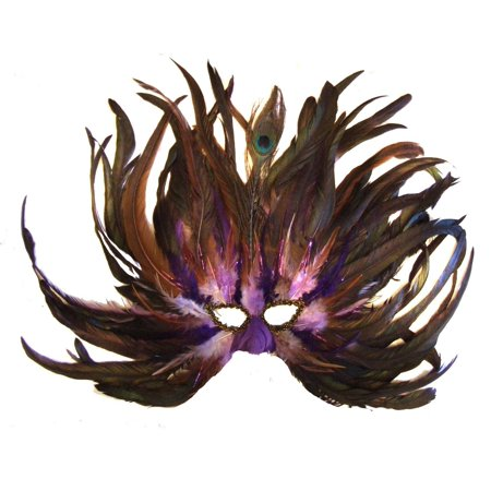 Venetian Feather Mask Flame Blueberry Masquerade Mardi Gras Halloween Prom, Costume party or a gorgeous room accent! By Mardi Gras World (Halloween Room Makeover)