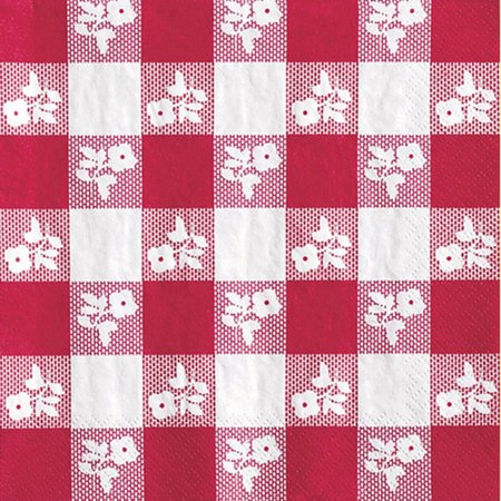 RED GINGHAM BEVERAGE NAPKINS (50 CT.)](Red And White Gingham Napkins)