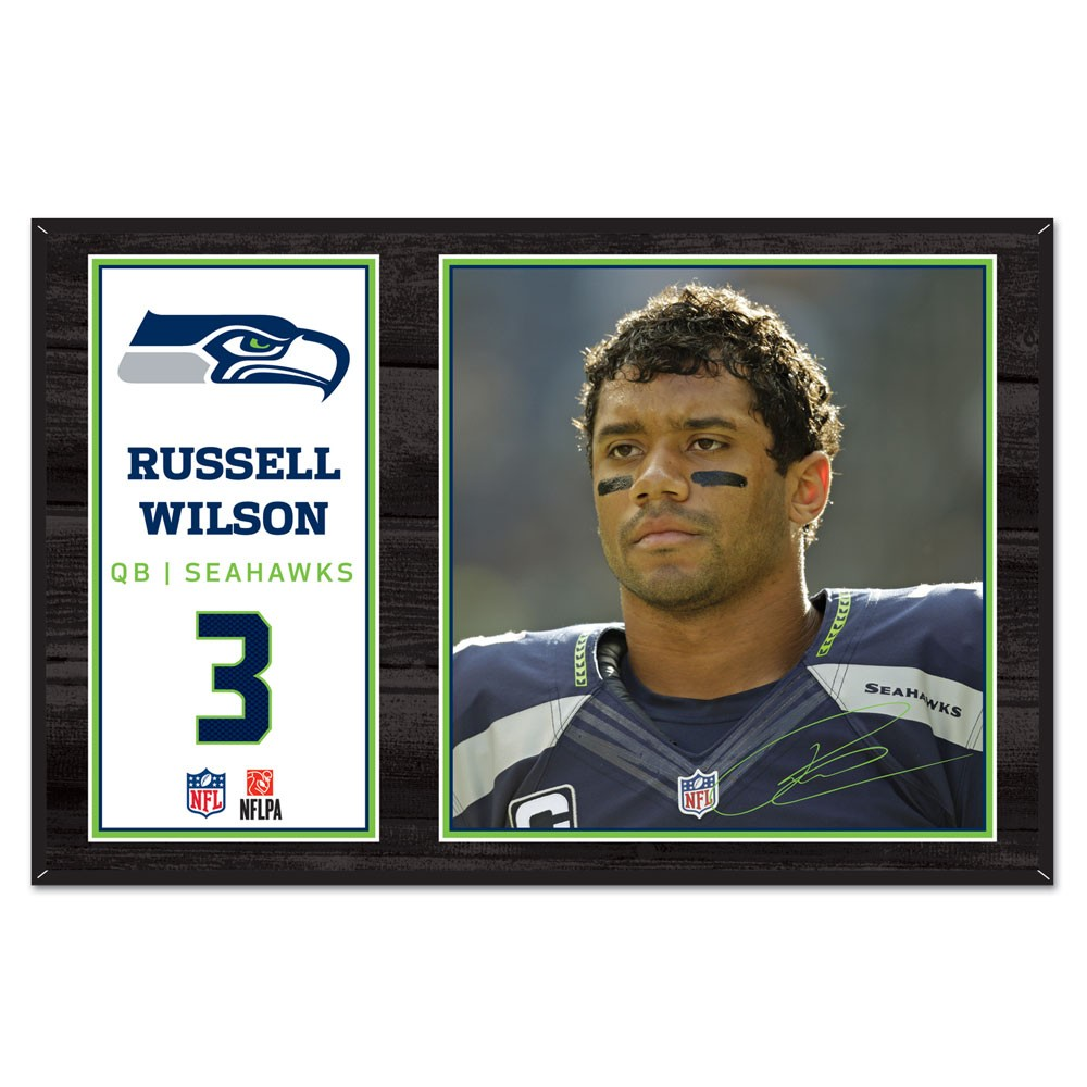 Seattle Seahawks Official NFL 11 inch  x 17 inch  Russell Wilson Beveled Wood Sign by Wincraft