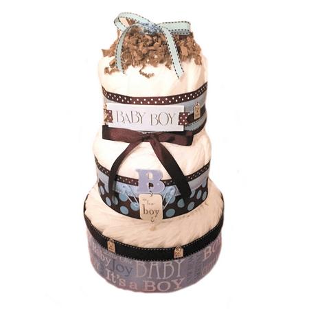 Blue & Brown Baby Boy 3 Tier Diaper Cake