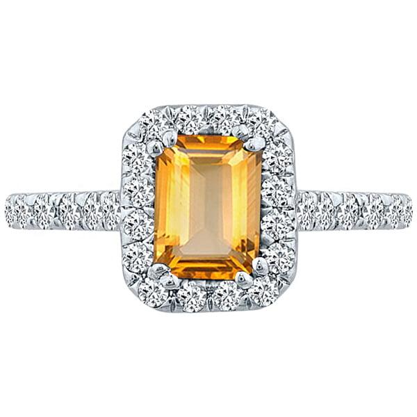 J&H 1.84 tcw Emerald Cut Citrine & Round Diamond Halo Uni...