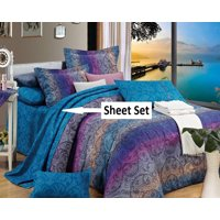Swanson Beddings Fantasia 100% Cotton Sheet Set : Fitted Sheet, Flat Sheet and Two Matching Pillowcases (Queen)