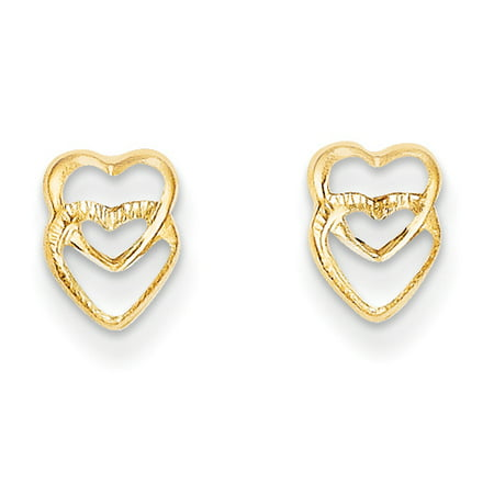 Childrens 14k Gold Heart Earring (Kids Small Stacked Open Hearts Post Earrings in 14k Yellow Gold)