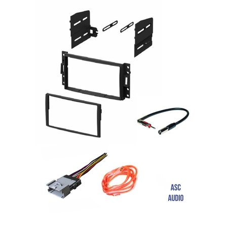 ASC GM510 Double Din Car Radio Stereo Dash Kit, Wire Harness, and Antenna on