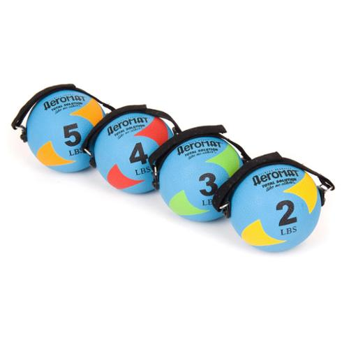 AeroMat Power Yoga/ Pilates Weight Balls 5 inch diameter, 6 pounds, Teal / Gray