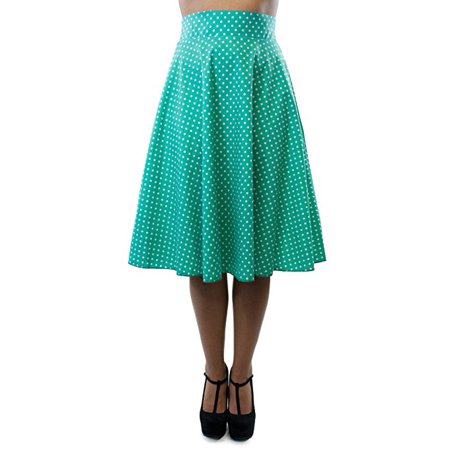 Classic Retro 1950s Polka Dot Back Smock Swing Skirt-Jade- (XL)  W71