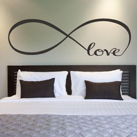 Black 10'' X 28'' Wall Stickers, Franterd Bedroom Decor Infinity Symbol Word Love Vinyl Art Decal