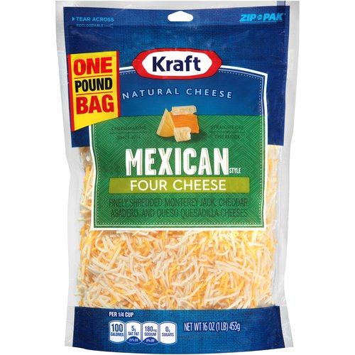 Kraft Mexican Style Four Cheese Blend Finely Shredded Cheese, 16 oz