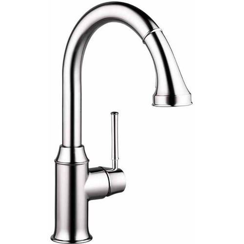 Hansgrohe 04215920 Talis C Pullout Spray High-Arc Kitchen Faucet with Locking Spray Diverter, Various Colors