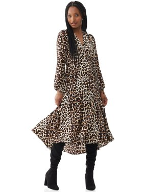 Scoop Womens Leopard Print Maxi Wrap Dress