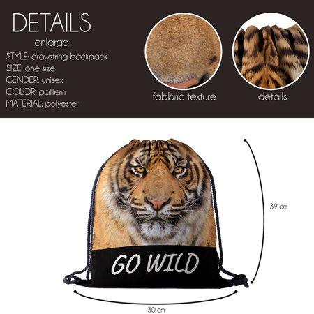Unisex Printed Drawstring Bag Novelty backpack for Sports Animal Rucksack - image 2 de 4
