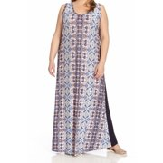 Karen Kane NEW Blue Women's Size 0X Plus Printed Scoop Neck Maxi Dress