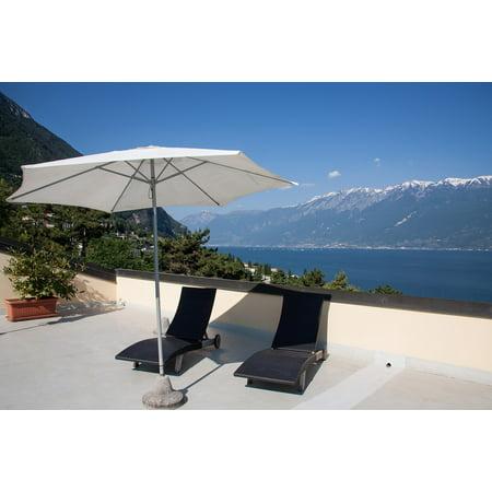 Canvas Print Roof Terrace Terrace Sun Loungers Parasol Hotel Stretched Canvas 10 x 14 ()