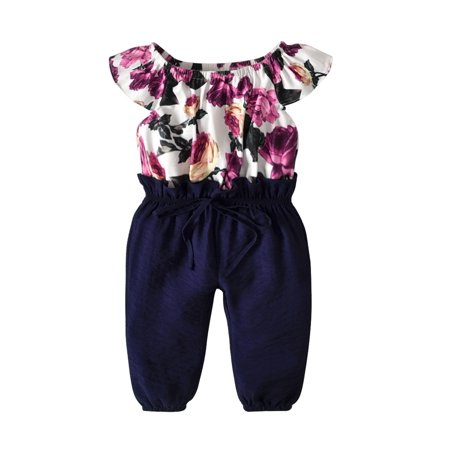 One-Piece Toddler Kids Baby Girls Floral Clothes Jumpsuit Romper Bodysuit Playsuit For 1-2 Years (Jump Suit Kids)