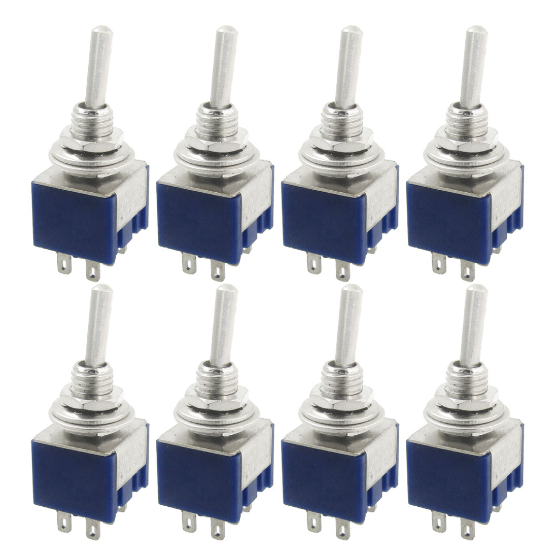 Unique Bargains Unique Bargains 8 Pcs AC 125V 6A Amps ON/ON 2 Position DPDT 6 Pins Toggle Switch