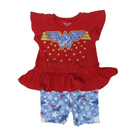 DC Comics Little Girls Red Wonder Woman Logo Ruffle 2 Pc Shorts Outfit