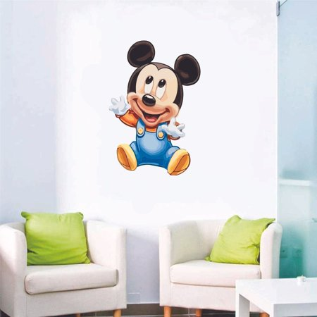 Mickey Mouse Room Ideas (Cute Baby Adorable Mickey Mouse Clubhouse Cartoon Character Wall Art Vinyl Sticker Mural Baby Kids Room Bedroom Nursery Kindergarten House Home Wall Art Decor Removable Peel and Stick 10x8)