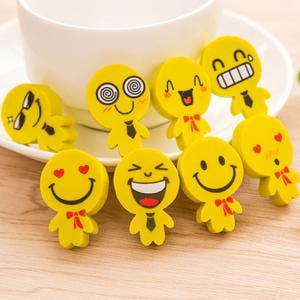 Face Erasers (Fancyleo 4 Pcs New Creative Stationery Cartoon Yellow Villain Style Smiley Face Eraser)